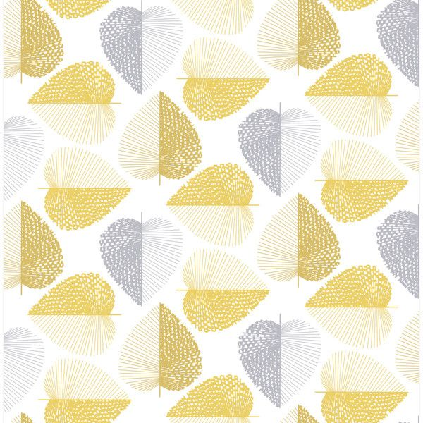 Stitch Leaf Yellow Leaf Patterned Wallpaper (150 CNY) ❤ liked on ...