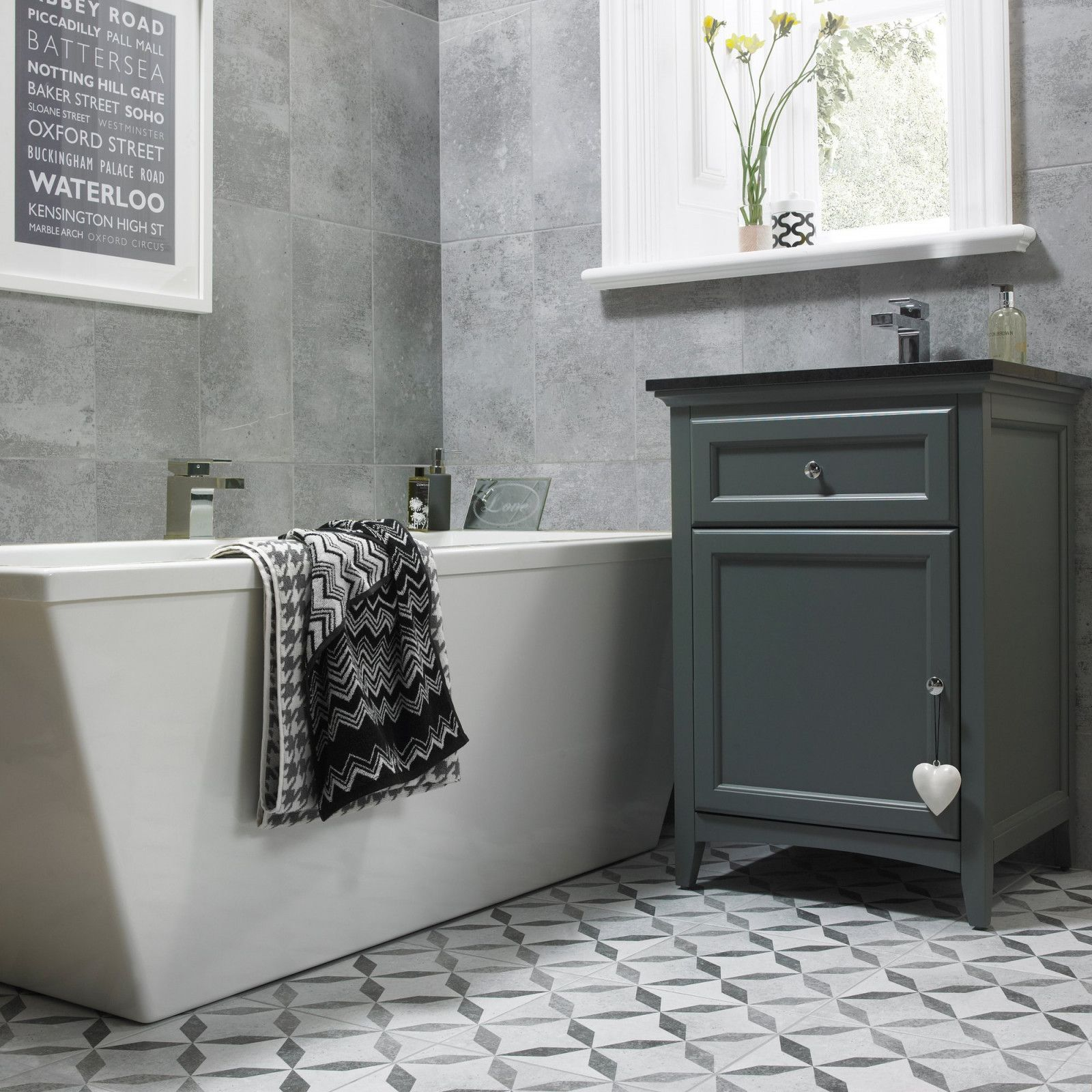 Urban Effect Wall And Floor Tiles With Matching Feature Floor In Shades Of Grey The Large Rectangular 24 Bathroom Wall Coverings Tile Bathroom Grey Wall Tiles