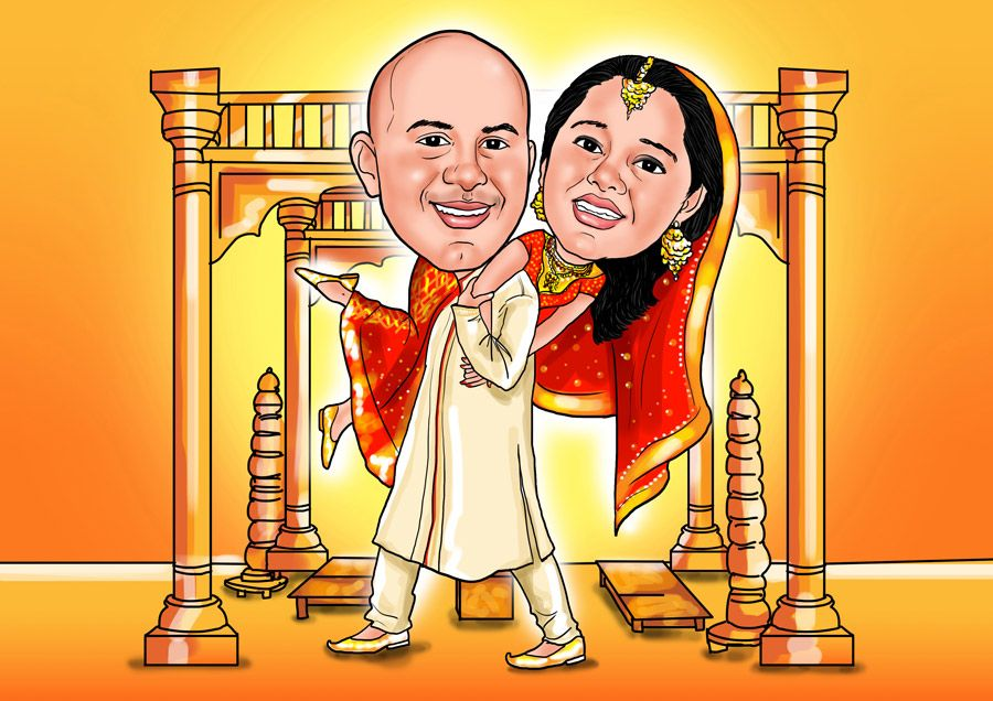 Funny Wedding Invitation Cards India : Indian Wedding caricature Wedding caricatures Pinterest Indian ...