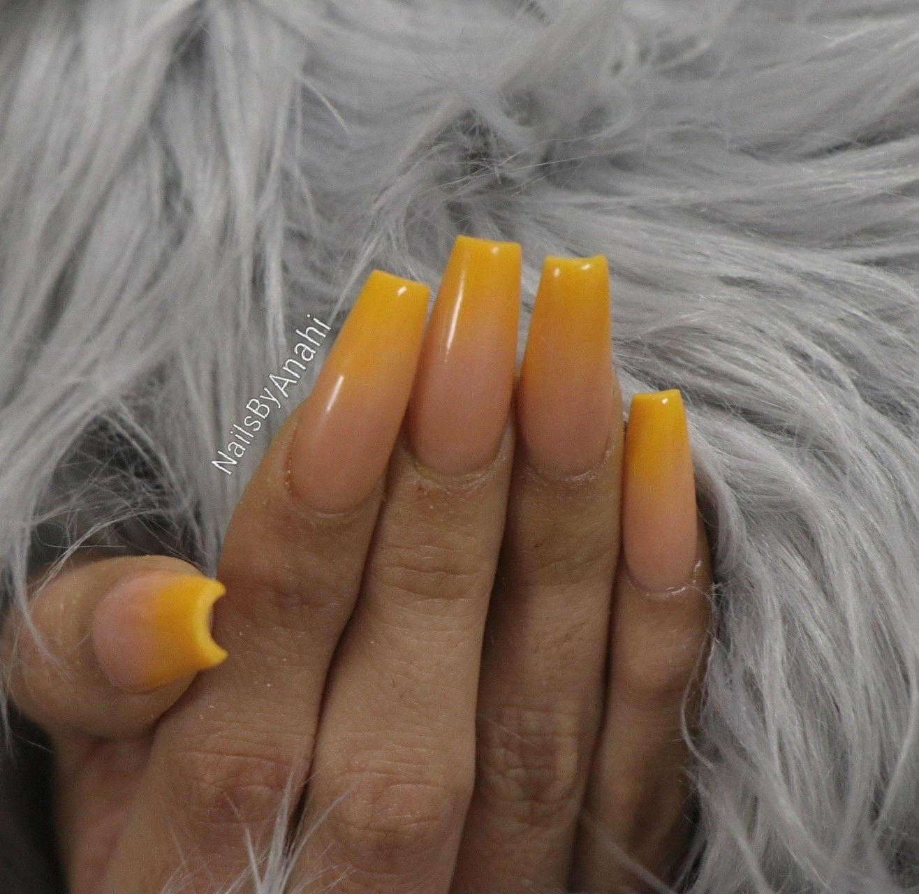 Nailsbyanahi Mustard Yellow Ombre Acrylic Nails Ombre Acrylic Nails Ombre Nails Acrylic Nails
