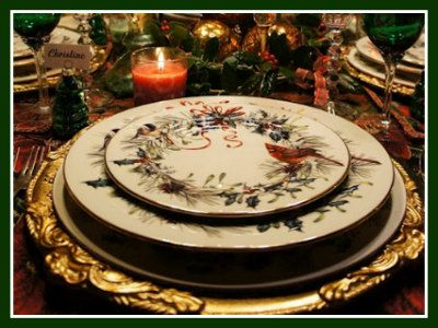 Ornate gold charger placed under lenox winter greetings fine china ornate gold charger placed under lenox winter greetings fine china m4hsunfo