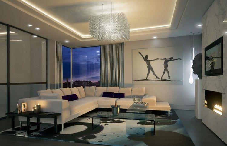 Deckenbeleuchtung Wohnzimmer ~ Indirekte deckenbeleuchtung spots und kristall kronleuchter