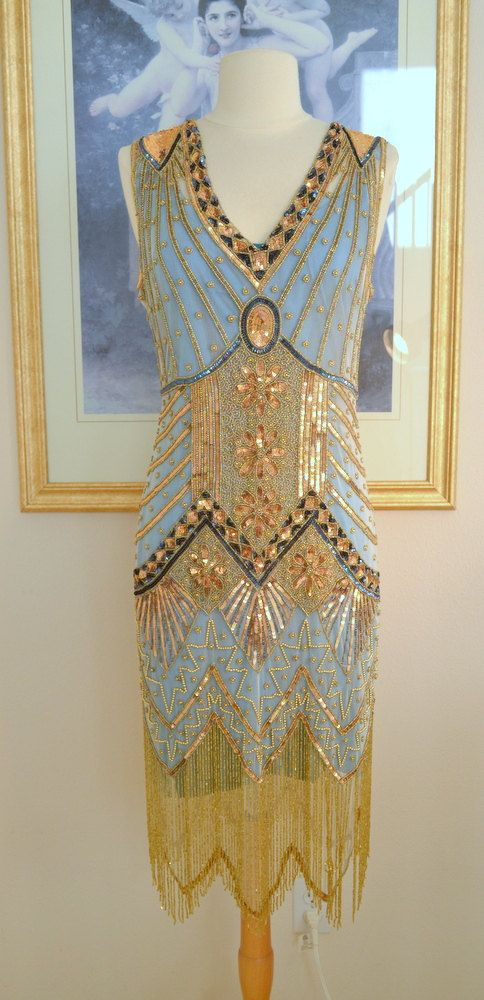 1920s Style Turquoise Gold Beaded Starlight Dress- S, m, l, xl or ...