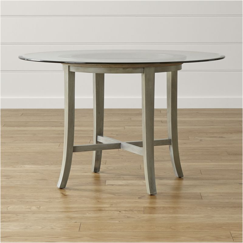 Halo Grey Round Dining Table With 48 Glass Top Grey Round