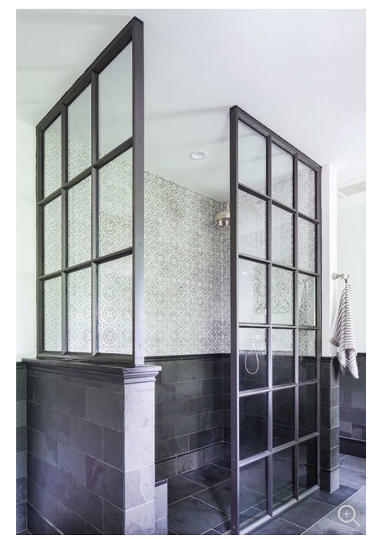 Black Framed 3 Sided Glass Shower Enclosure With 1 2 Wall This Could Work Bathrooms Remodel Simple Bathroom Remodel Glass Shower Enclosures