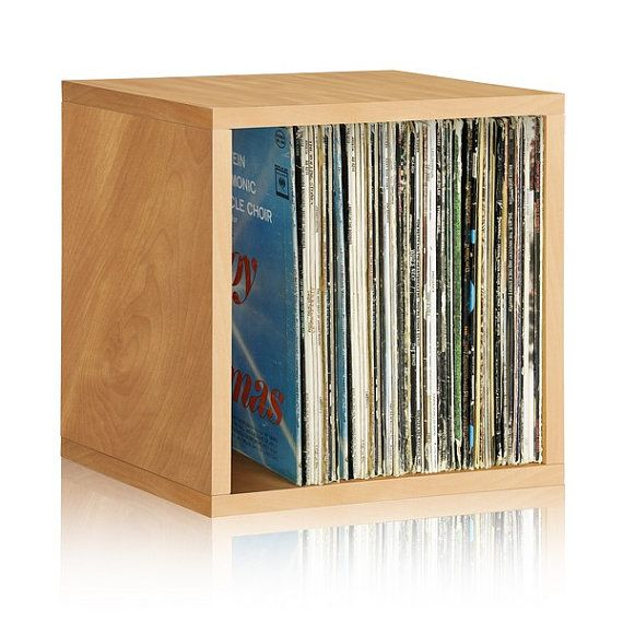 Way Basics Stackable Record Album And Vinyl Storage Cube, Natural   Fits 65  To 70