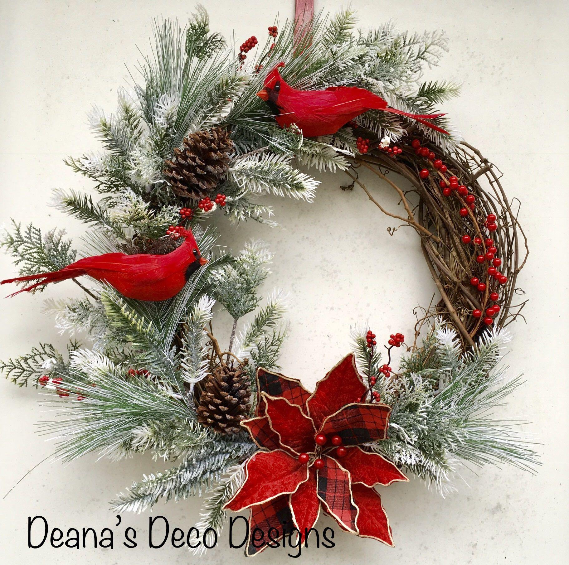 Christmas 18cm Mini Hanging Door Wreath with Red Berries and Pine Cones