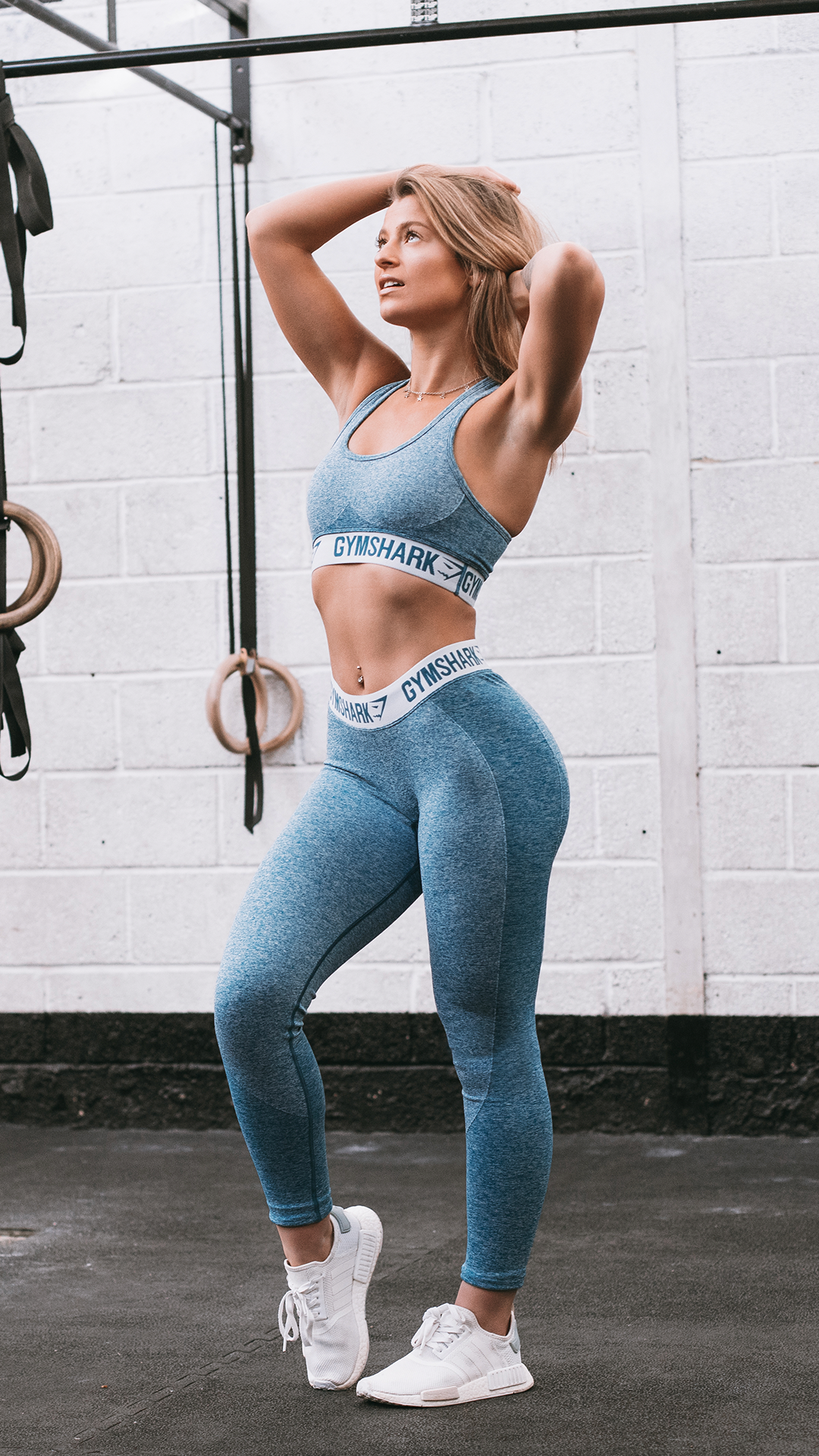 bbc579365 Gymshark Flex Cropped Leggings - Deep Teal Ice Blue
