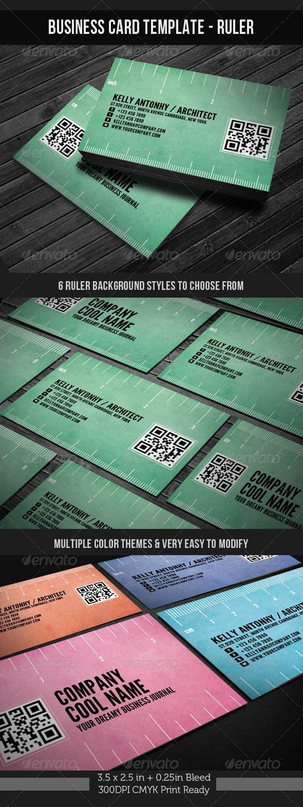 corporate business card template ruler graphicriver corporate business card template ruler with qrquick response code 3525in 025in bleed - Quick Response Code Business Card