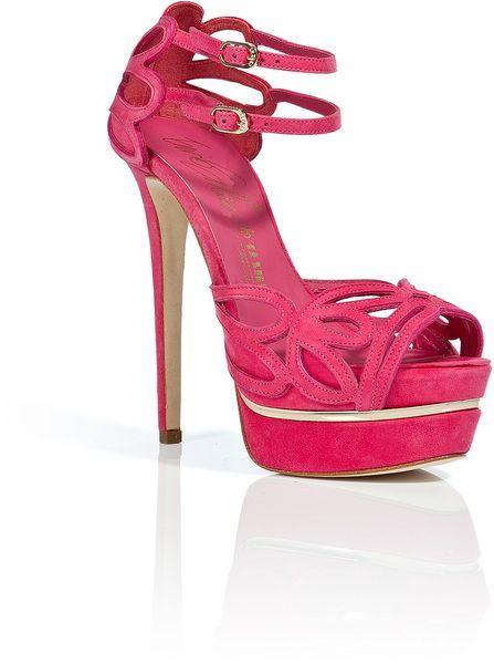 5174531bca74 Le Silla Pink Suede Cut-Out Platform Sandals - ShopStyle