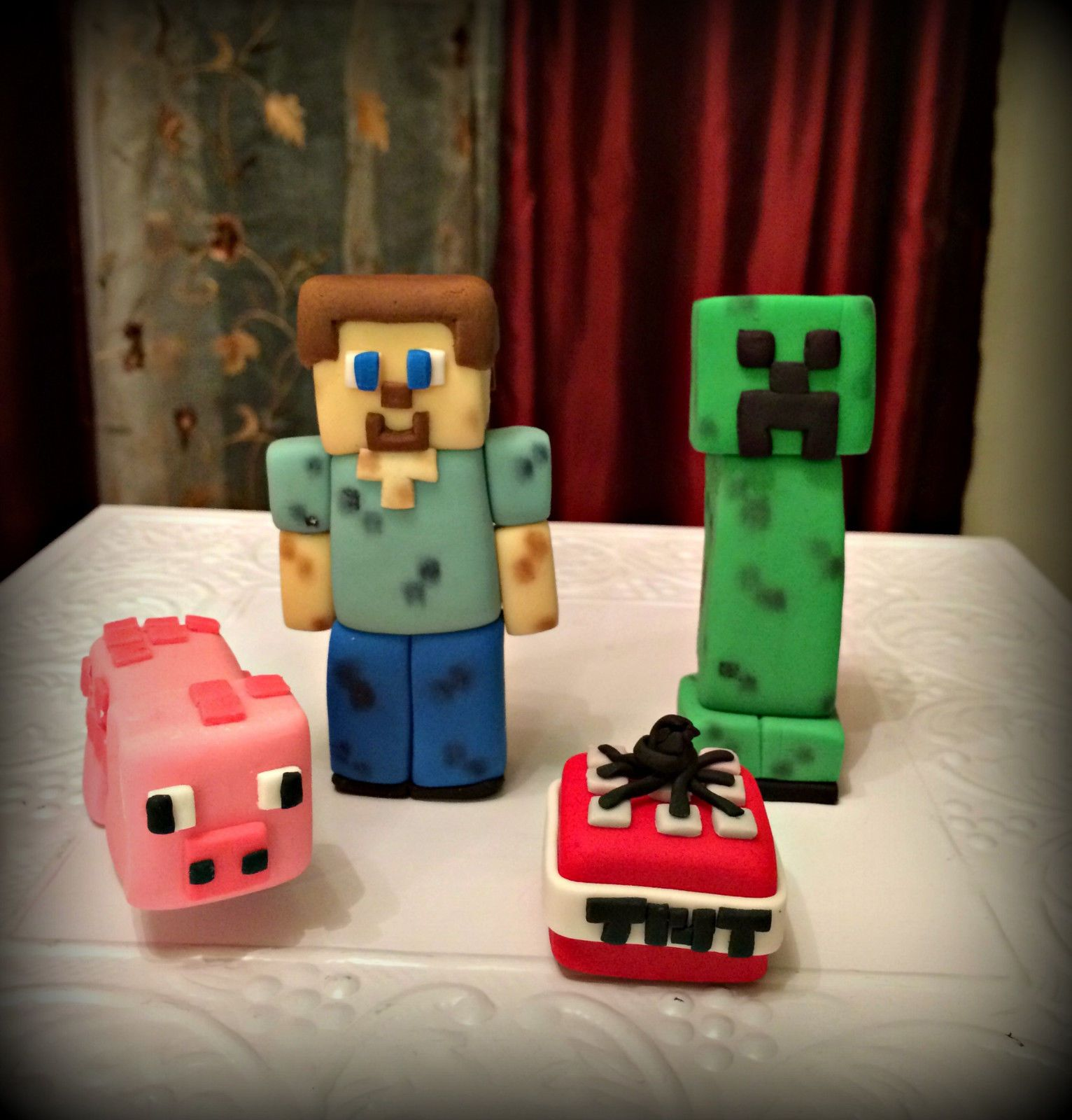 Set 4 Minecraft Inspired Fondant Cake Toppers eBay DIY ...