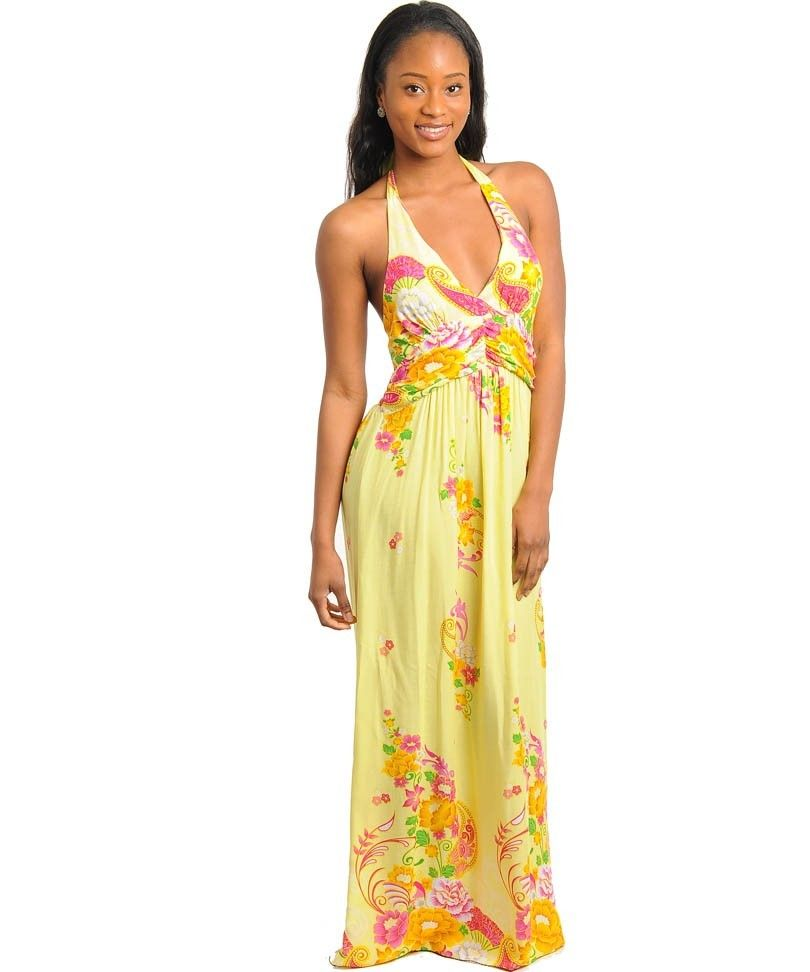 Yellow flower long dress new u used clothing sale onlineadult
