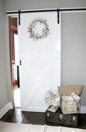 diy barn door and hardware for around 80 do it yourself home projects from ana white barn. Black Bedroom Furniture Sets. Home Design Ideas