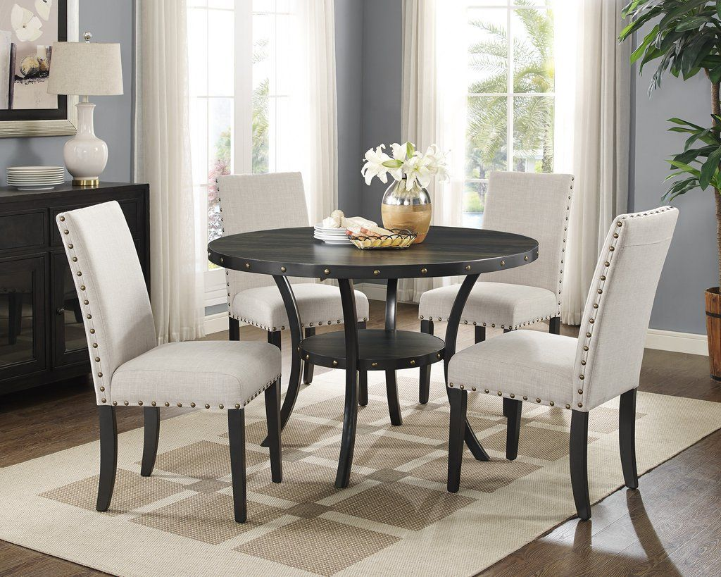 Biony Espresso Wood Dining Set With Tan Fabric Nailhead Chairs Extraordinary Espresso Dining Room Table Sets Inspiration