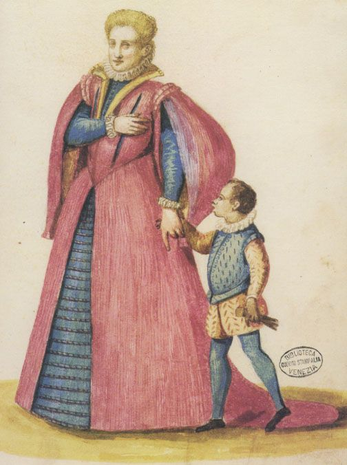 The woman here is wearing what appears to be a skirt stiffened with a continuous band of bent rope or other stiffening. Detail from Il Libro del Sarto (The Tailor's Handbook), Anonymous, c. 1580