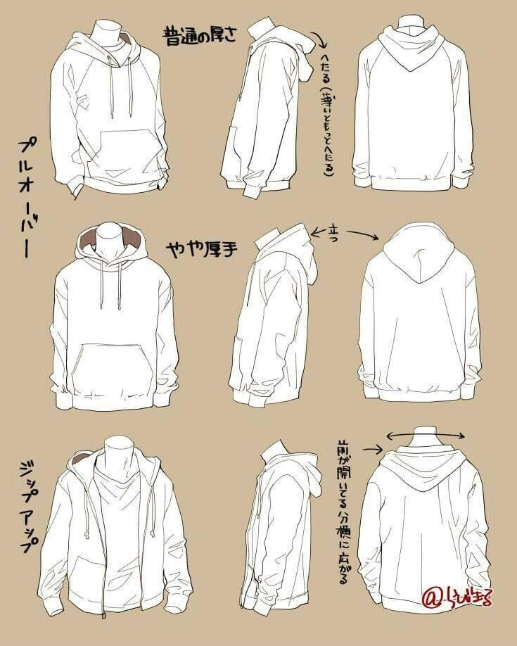 Hoodies clothes reference wrinkles drawing clothes