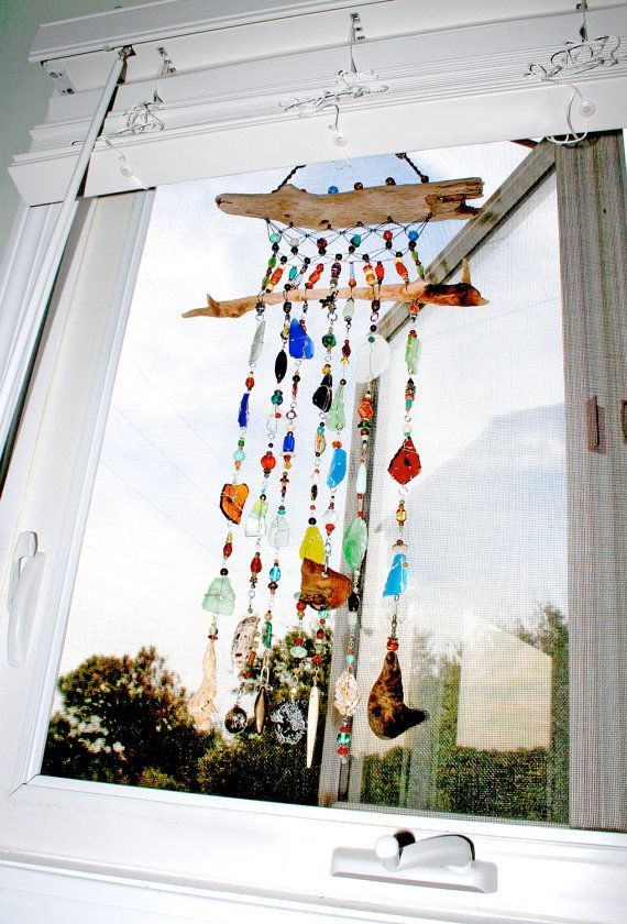 Amazing ... Shells Are Wire Wrapped And Macramed With Assorted Beads, Colored  Tumbled Glass And Other Elements To Create A Unique, One Of A Kind Hanging  Sculpture.