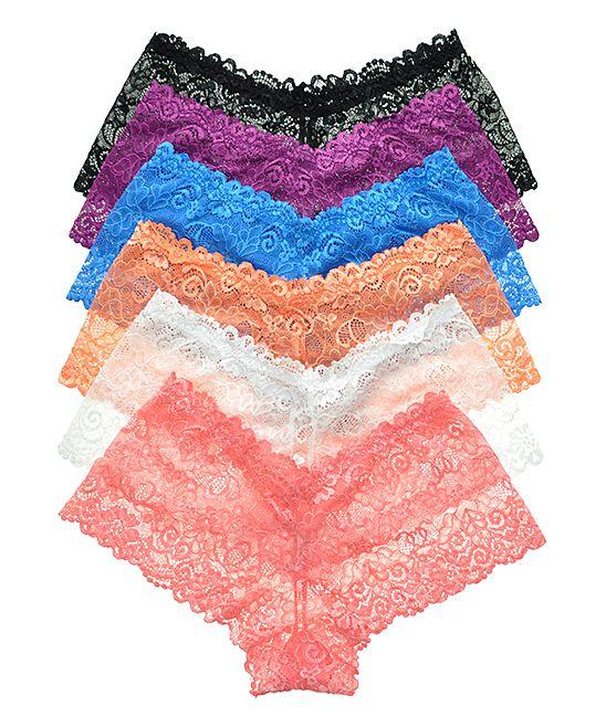 Orange & Blue Embroidered Lace Boyshorts