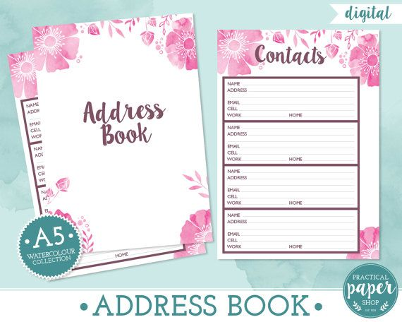 A Planner Address Book Inserts  Digital  Printable  Fits