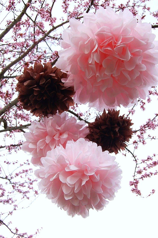 pink & brown pom poms