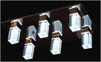LAMPARA TECHO JT9008/6 (L: 49 * W: 30.5 * H: 17 ACERO INOXIDABLE Y CRISTAL ACRÍLICO y G4 20W MAX * 6 * 6 Ø38 LED)