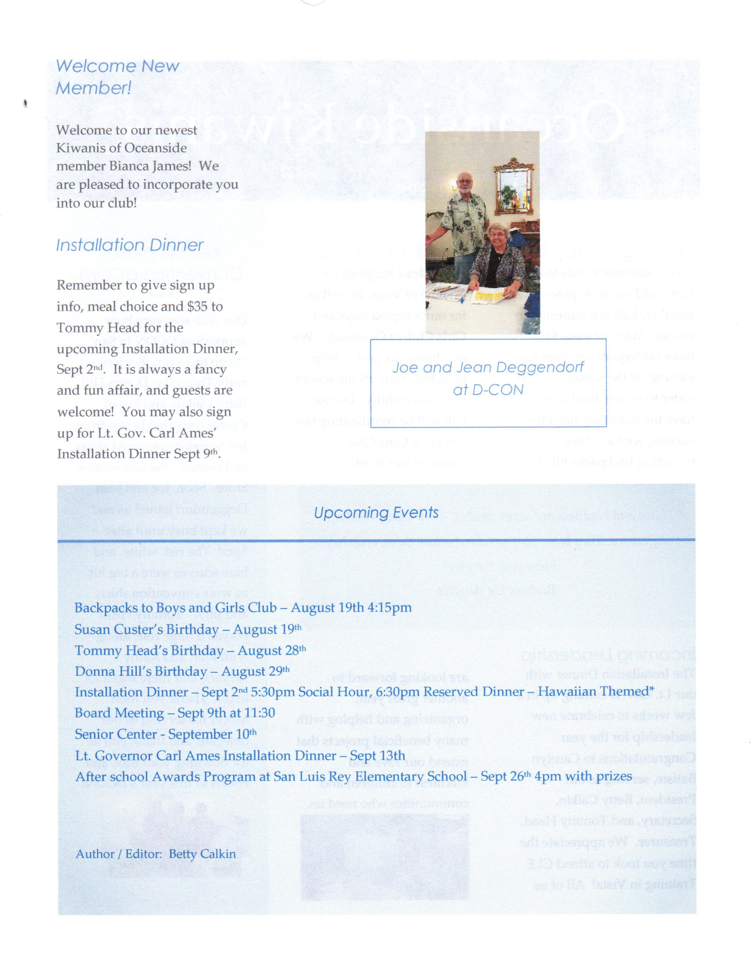 Page 2 of August Newsletter