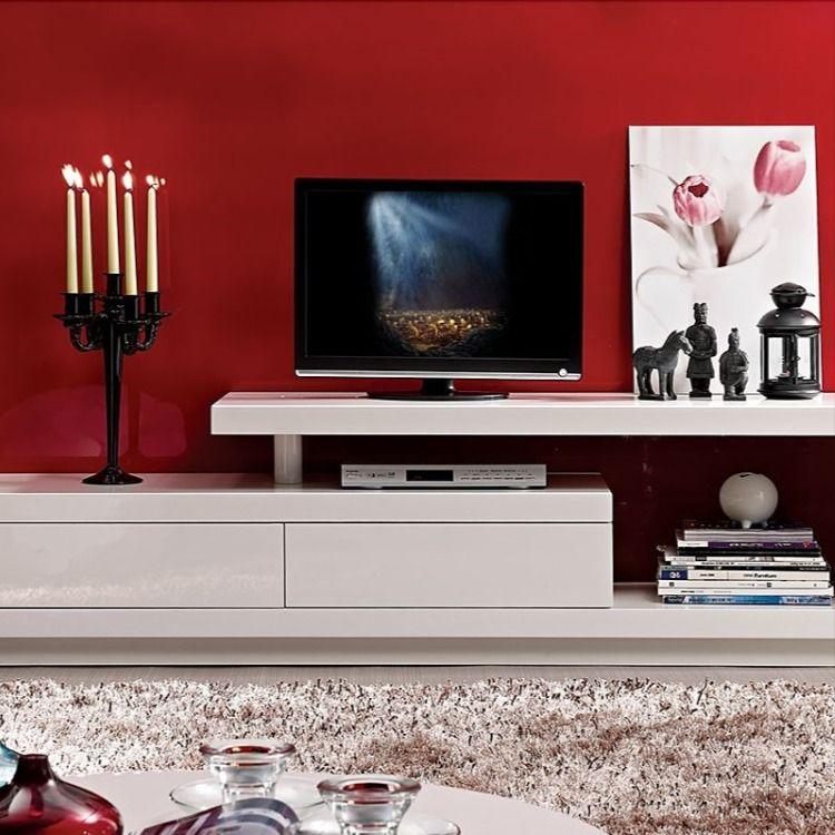 Meuble Tv Design Blanc Brillant En 2020 Meuble Meuble Tv Design Meuble Tv