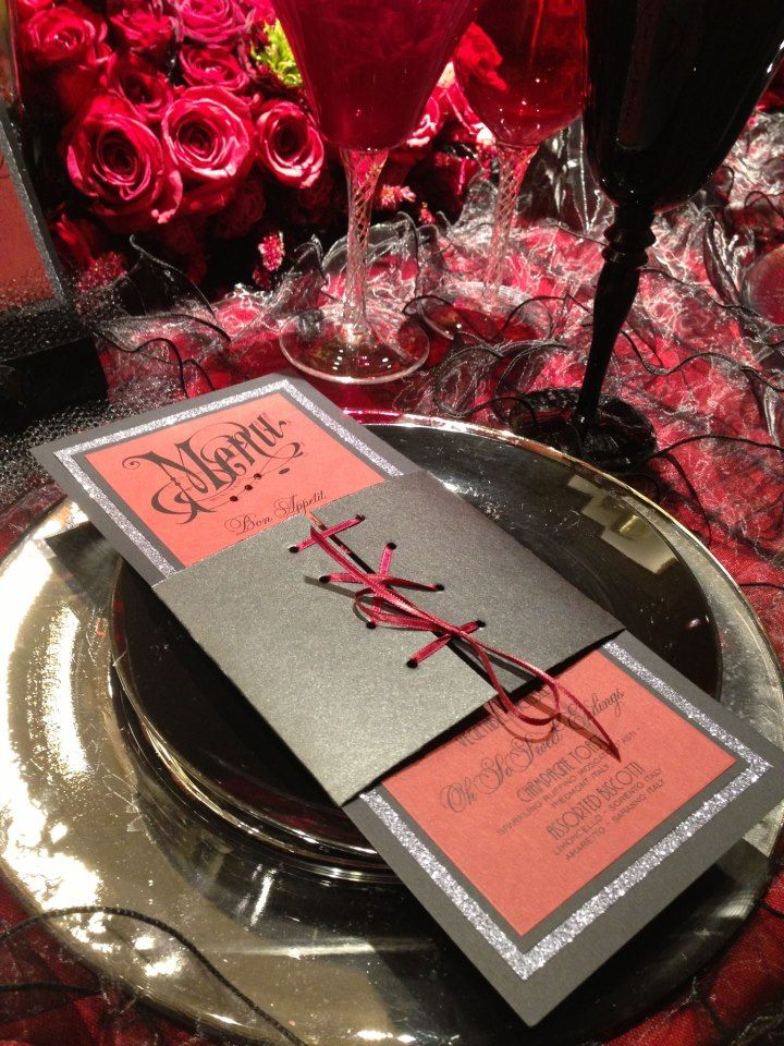 Moulin Rouge Corset menu and invitation Event Essentials Work