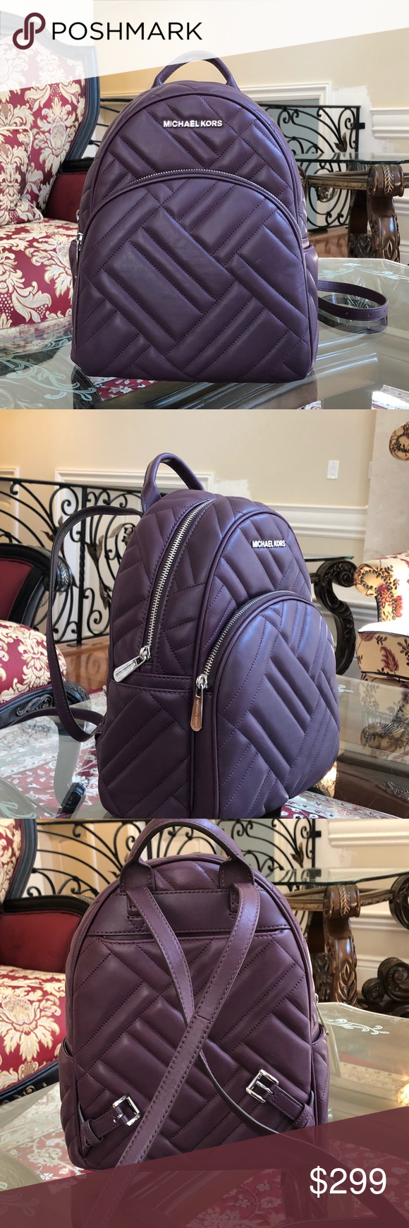f716a18878fb NWT, MICHAEL KORS MEDIUM ABBEY QUILTED BACKPACK Guaranteed Authentic Michael  Kors Abbey Medium Chevron Quilted