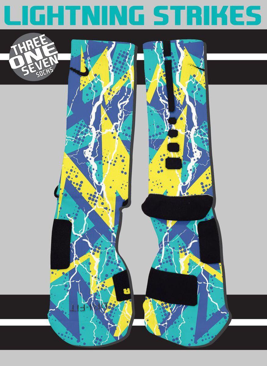 15f227db60c0a Lightning Strikes Custom Nike Elite Socks - Teal, Blue, and Yellow ...