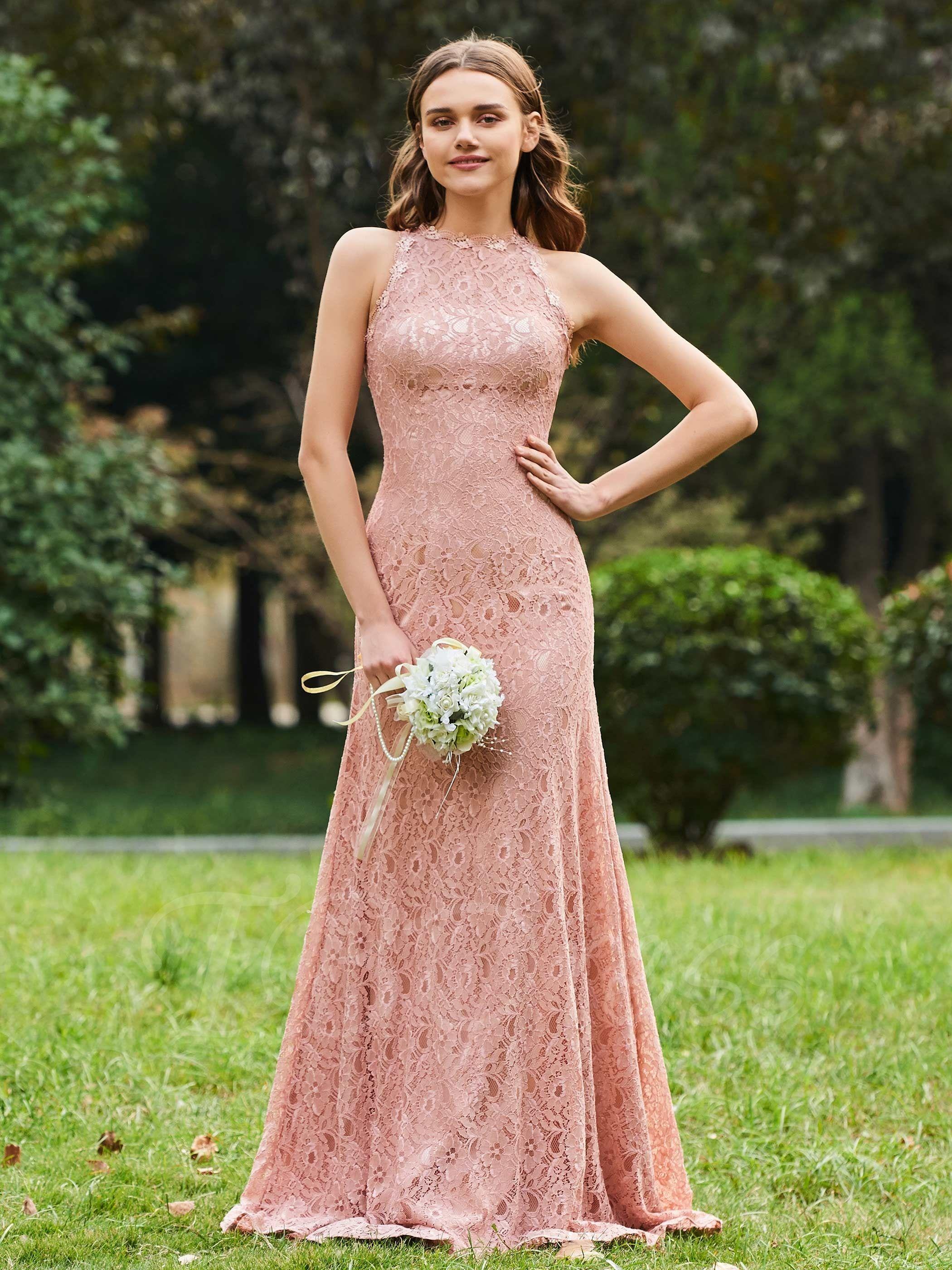 Straps Long Sheath Lace Bridesmaid Dress Vestidos de