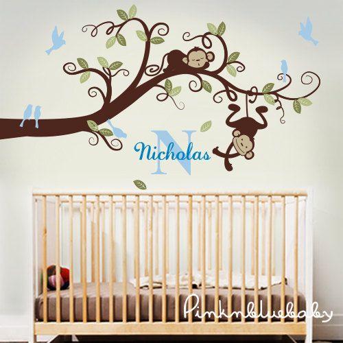 Baby Boy Nursery Decor : Branch Tree, Boy Monkeys And Custom Name   Nursery  Wall