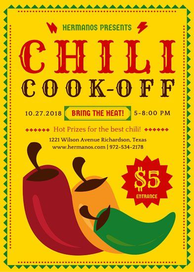 Cooking Class Flyer Templates By Canva Chili Cook Off