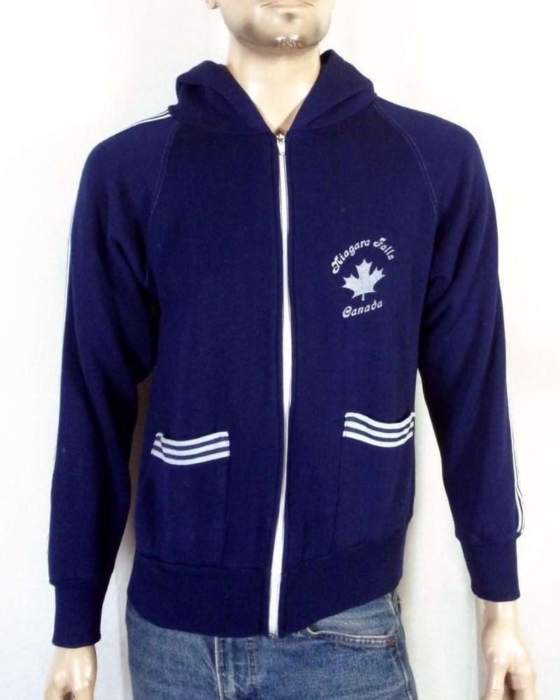 vtg 70s Scrambler navy blue Niagara Falls Canada Hoodie Sweatshirt Jacket  sz M ddc937bff