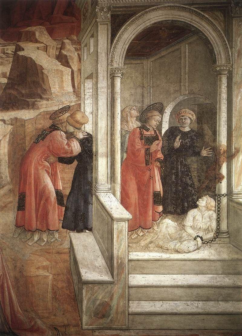 FILIPPO LIPPI (Fra) - Santo Stefano guarisce un'ossessa - affresco - 1452-1465 - Cappella Maggiore, Cattedrale di Santo Stefano, Prato