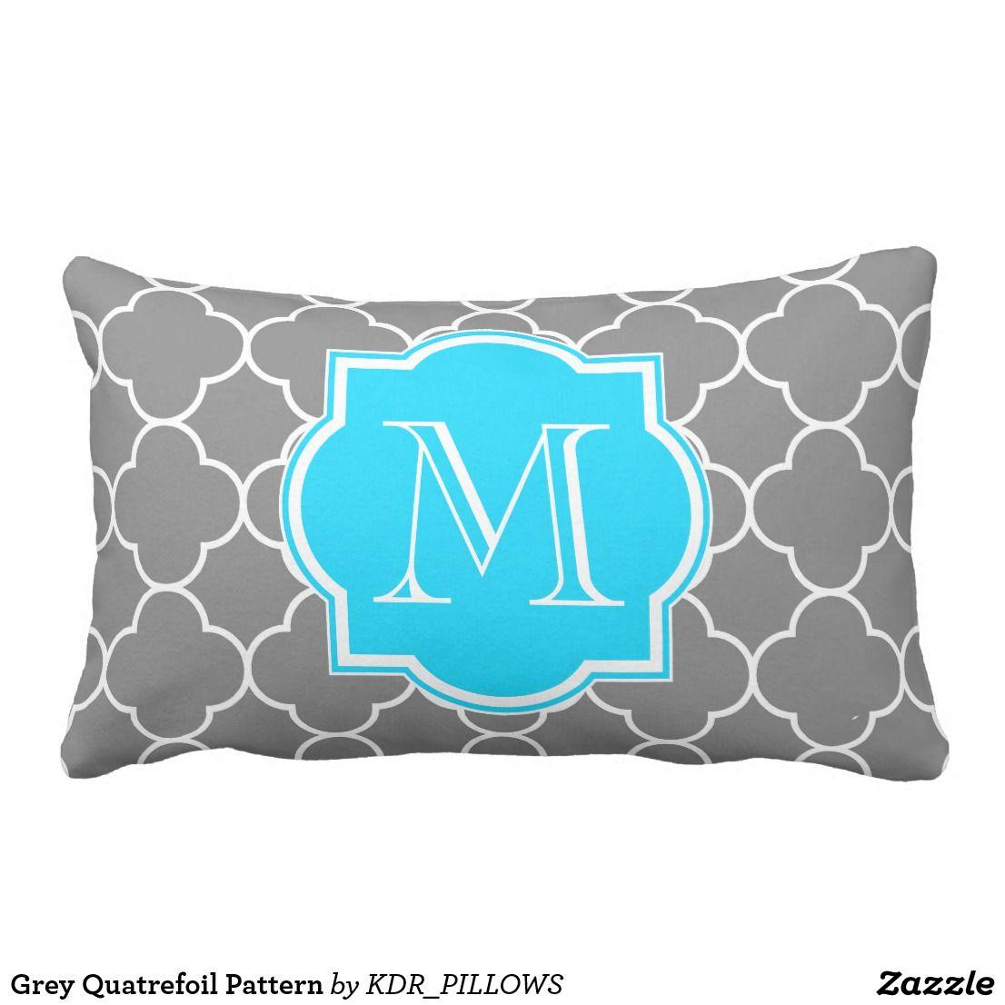 Grey quatrefoil pattern lumbar pillow in nicelooking pillow