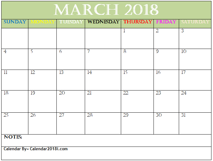 Excel  March Calendar Template  Maxcalendars