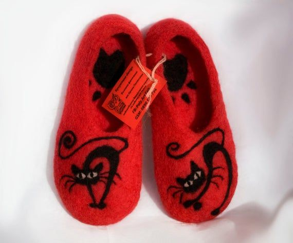 Photo of Felted  slippers, wool slippers, home slippers, cats, felt slippers, Black Cat, cat lovers gift, cat slippers