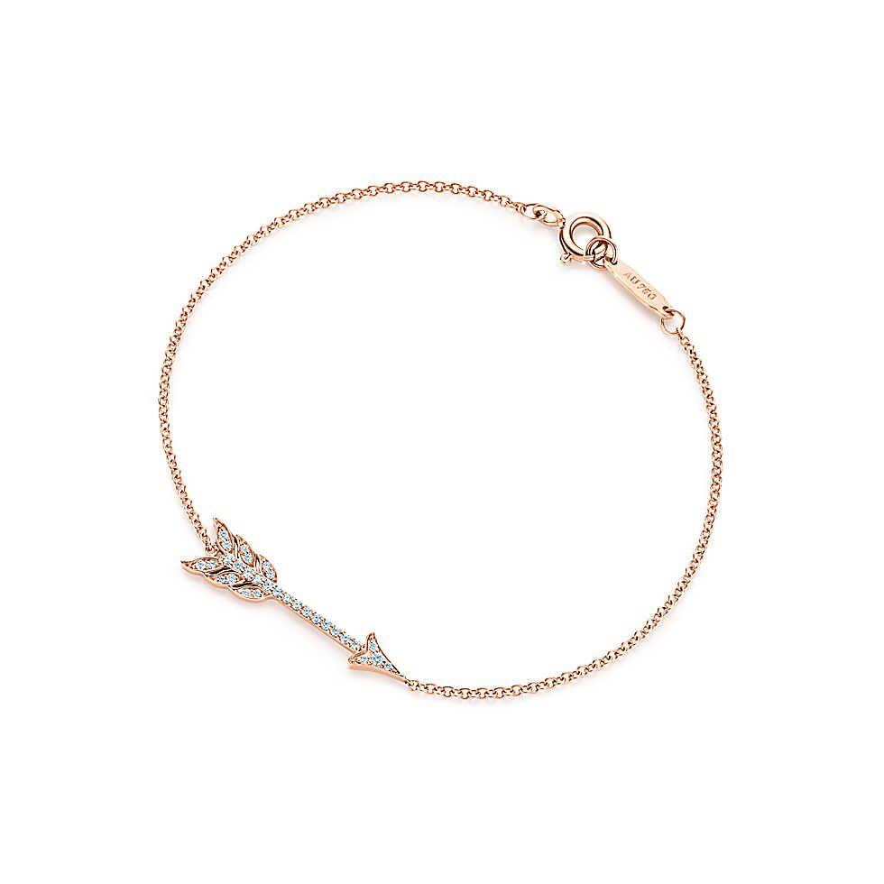 86df1b9cc Tiffany & Co. - Tiffany Hearts® arrow bracelet in 18k rose gold with  diamonds, medium.