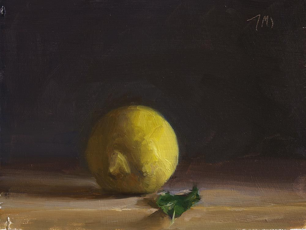 daily painting titled Lemon and leaf - click for enlargement