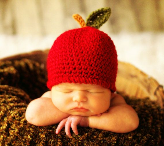 Baby Hat CROCHET PATTERN in 5 sizes 0-10 years, Baby Child An Apple ...
