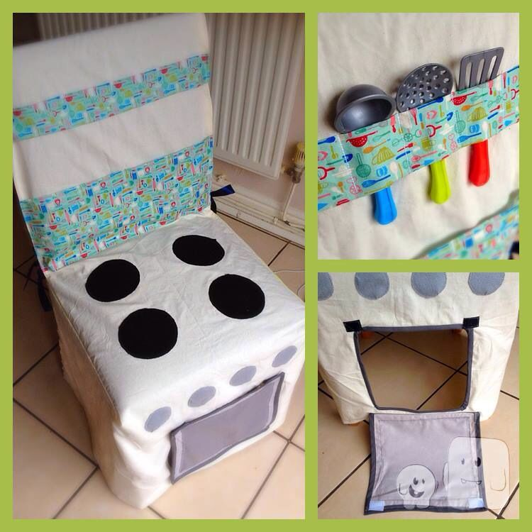 Play Kitchen Chair Cover Space Saving Pretend Role Play Toy Tent