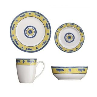 Cuisinart Peony Blue and Yellow 16-Piece Dinnerware Set (Service for 4) |  sc 1 st  Pinterest & Cuisinart Peony Blue and Yellow 16-Piece Dinnerware Set (Service for ...