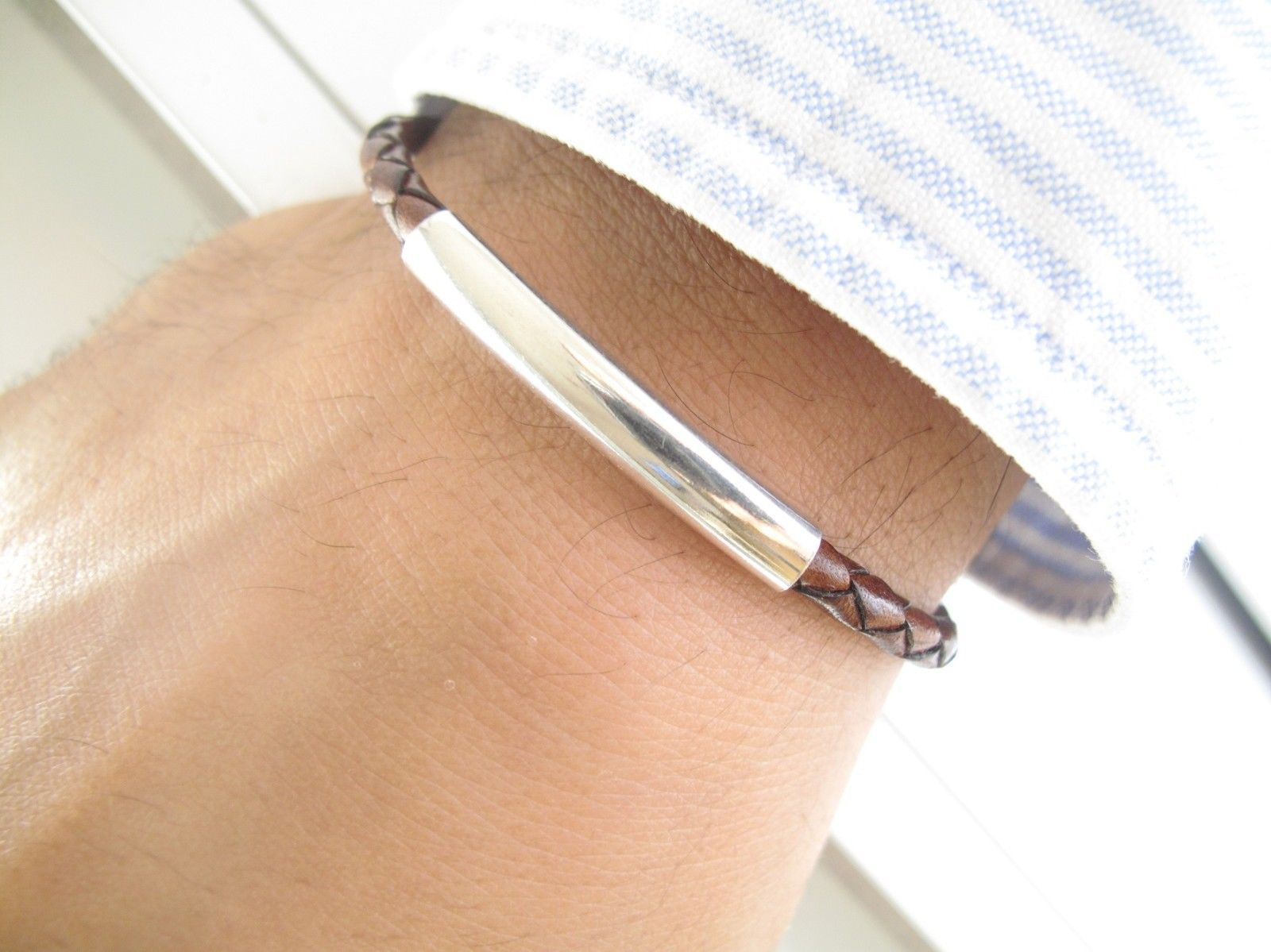 sterling silver tube brown leather bracelet bangle braided men