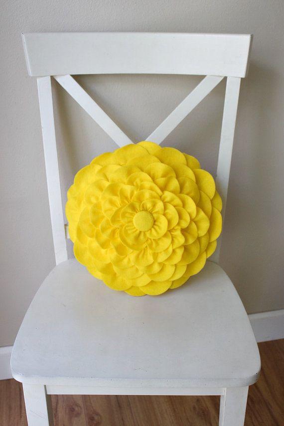 Bright Yellow Felt Flower Pillow by Loveoffamilyandhome on Etsy