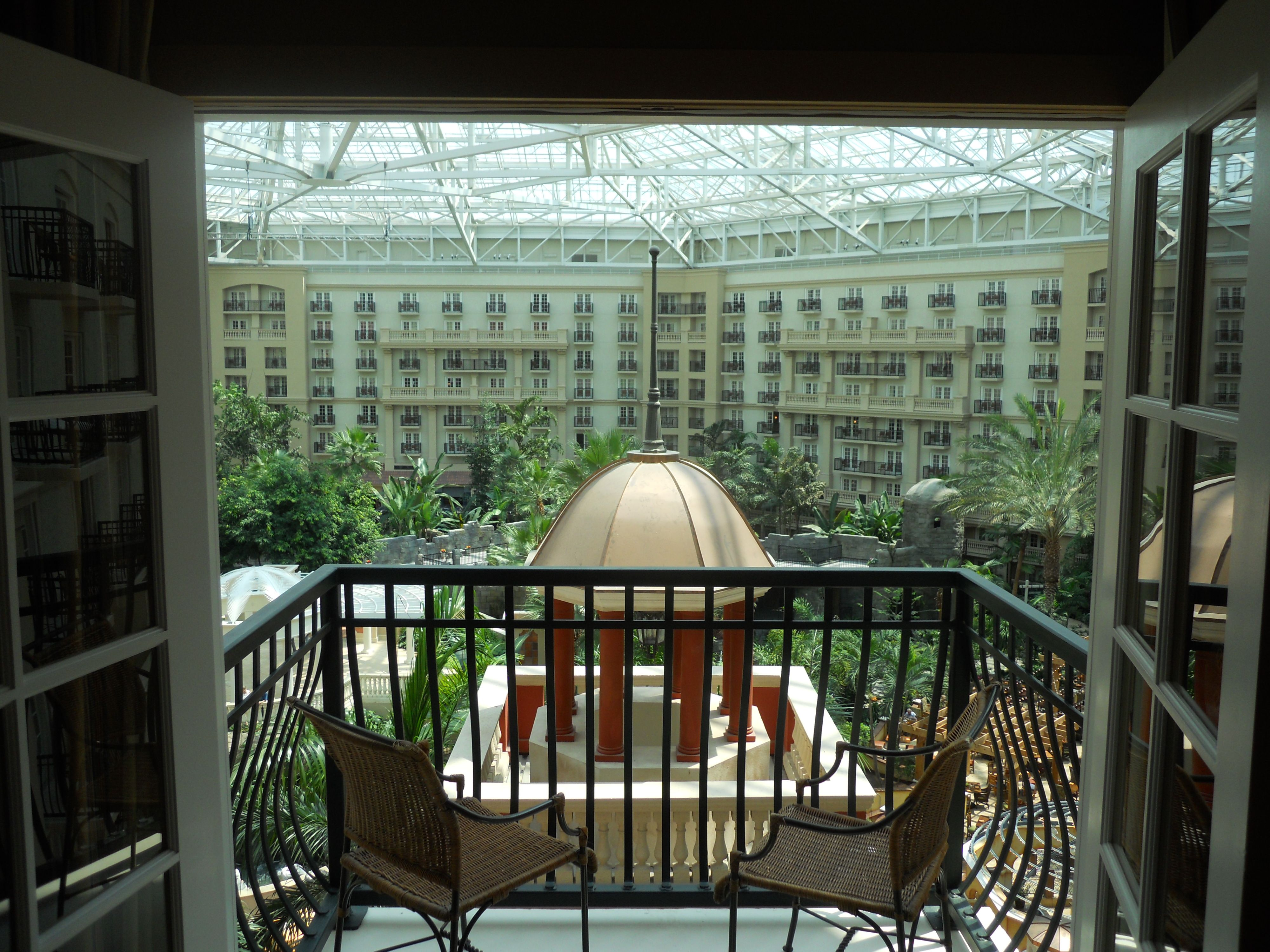 View from a guest room into the main atrium at Gaylord Palms Hotel ...