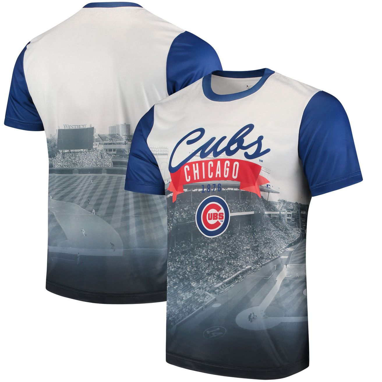 save off 63a66 21873 Men's Chicago Cubs White/Royal Outfield Photo T-Shirt in ...