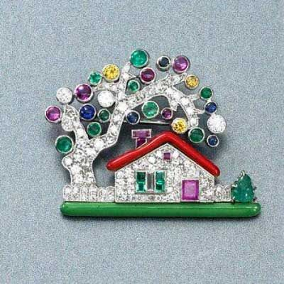 Diamond Enamel House Brooch by Raymond Yard, USA