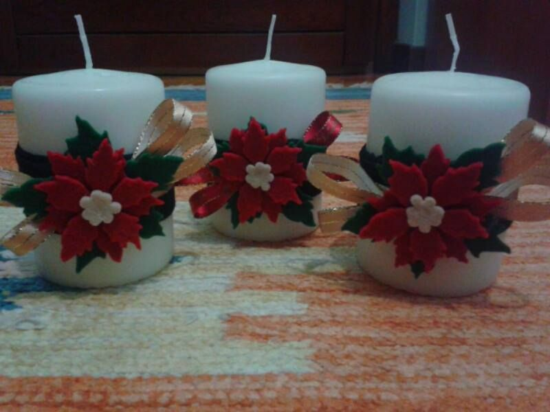 Candele Bagno ~ Candele decorate con il feltro la cannella e i gessetti natal