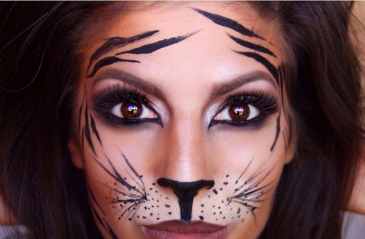Fasching Schminken Tiger Frau Augen Einfach Schnell Party Ideas In